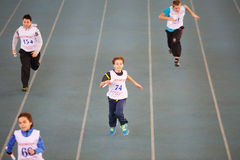 Boys run at children competition under auspices Stock Images