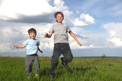 Boys run Stock Photography