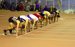 Boys run on the start Stock Images