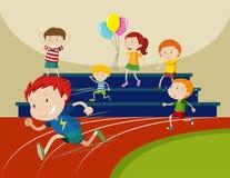 Boys running in the race. Illustration Stock Image