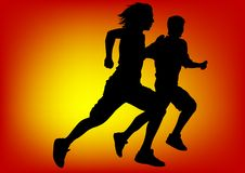 Boys running on sun Royalty Free Stock Photos