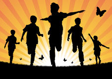 Boys Running in the Sun. Vector illustration of a collection of children playing and running in the sunshine Stock Photography