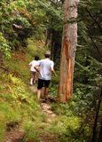 Boys running in trail Royalty Free Stock Photo