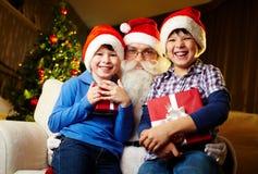 Boys and Santa Royalty Free Stock Photography