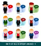 Boys saying hello in foreign languages. Hello in foreign languages. Cartoon boys with speech bubbles. Template for dictionary. Vector flat illustration vector illustration