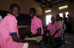 Boys at school in Rwanda. Royalty Free Stock Photo