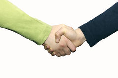 Boys shaking hands. Schoolboys shaking hands in white Stock Image