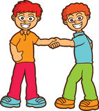 Boys Shaking Hands Cartoon Illustration stock illustration