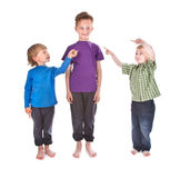 Boys showing who is guilty Royalty Free Stock Photo