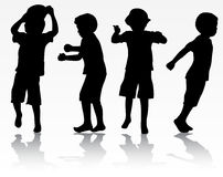 Boys silhouettes Stock Images