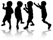 Boys silhouettes. Happy boys together Stock Photo
