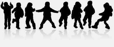 Boys silhouettes Stock Photos