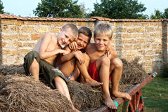 Boys sitting on a hay bale. Happy boys sitting on a hay bale Royalty Free Stock Images
