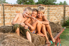 Boys sitting on a hay bale. Happy boys sitting on a hay bale Royalty Free Stock Image