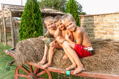 Boys sitting on a hay bale Stock Photo