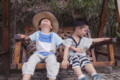 Boys sitting on swing  Royalty Free Stock Image