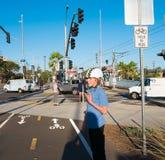 Boys Skateboarding On Los Angeles Metro Bike Path Stock Photos