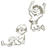 Boys Sketches. Jumping boy and thinking boy Royalty Free Stock Photography