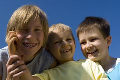 Boys on sky Royalty Free Stock Image