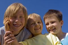 Boys on sky royalty free stock images