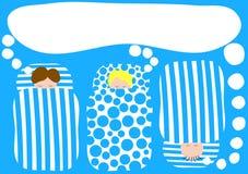 Boys in sleeping bags pyjama party invitation. Pyjama party invitation card with stripes and polka dots sleeping bags and dream balloons vector illustration
