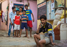 Boys in slum Stock Image