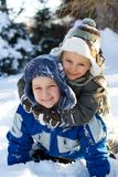 Boys On Snow Stock Photo
