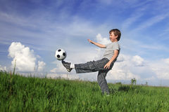 boys with soccer ball Stock Photo