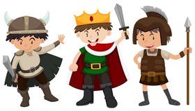 Boys in soldier and prince outfit. Illustration Royalty Free Stock Photo