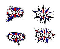 Boys Speech Bubbles. Fashion Patch Badge British Expressions, Boys Speech Bubbles. Set of Boys Stickers, Pins in Cartoon Comic Style royalty free illustration