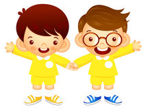 Boys are standing affectionately press hands. Education and life Royalty Free Stock Photo