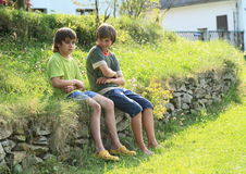 Boys on stone wall. Little boys - one sad kid and second one smiling sitting on stone wall on grass Stock Image