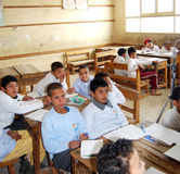 Boys students in class during the lesson royalty free stock images