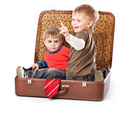 Boys in a suitcase Royalty Free Stock Photos
