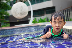 Boys swimming pool. Boys were playing in the swimming pool Royalty Free Stock Images