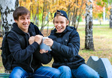 Boys with Tablet outdoor Royalty Free Stock Photo
