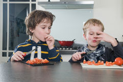 Boys tasting tomato Royalty Free Stock Photography
