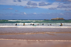 Boys teen surfing in Cantabrian sea Stock Photo