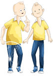 Boys teens twins clipart cartoon style  illustration white Stock Images