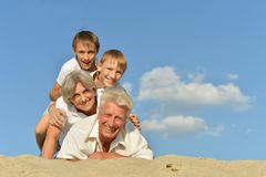 Boys with their grandparents Stock Photography