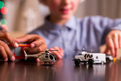 Boys' toy police transport. Stock Photo