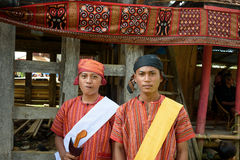 Boys in traditional clothes at funeral ceremony. Tana Toraja Stock Image