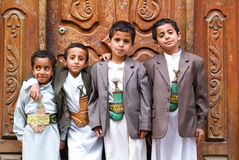 Boys with traditional clothes at Sana on Yemen Stock Images