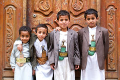 Boys with traditional clothes at Sana on Yemen Royalty Free Stock Photo