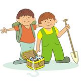 Boys and treasure Stock Photo