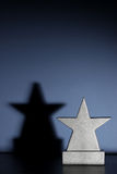 Boys Tropy Vertical. Star shaped trophy and shadow, sitting in a boys blue bedroom awaiting your engraving stock image
