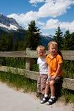 Boys on vacation stock photos