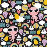 Boys on vacation seamless pattern. Cool little boys on vacation seamless pattern. Vector texture Royalty Free Stock Images