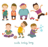 Boys vector set. Vector illustration. boys, seven postures and emotions Royalty Free Illustration