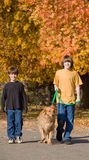 Boys Walking the Dog Royalty Free Stock Images